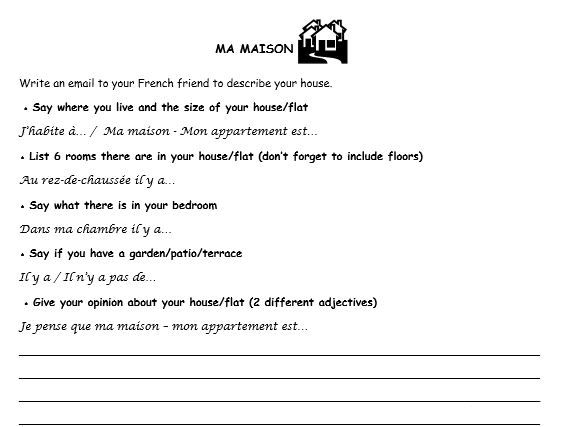 French writing tasks 3 topics (town, home, food)