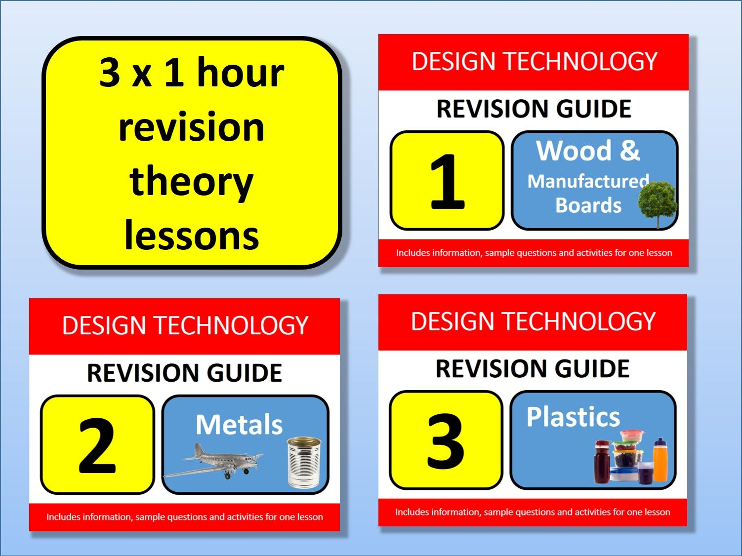 3 x 1 hour GCSE Design Resistant Materials Revision Lessons Exam Questions Tools etc