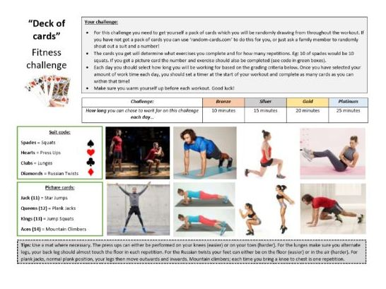 Core PE - Lockdown fitness resource - Deck of cards challenge