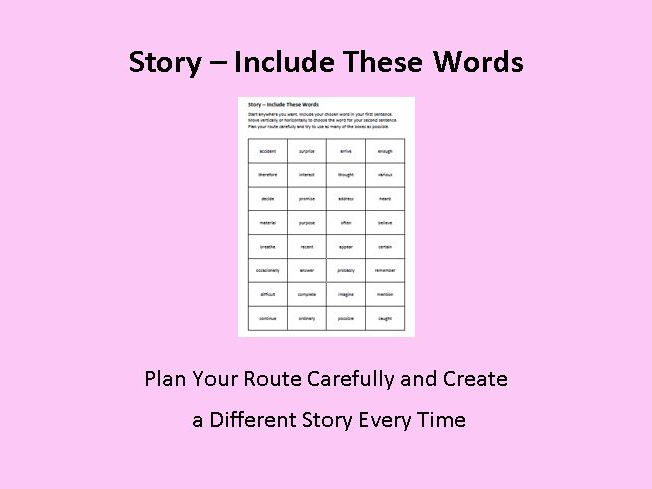 Story Creator - Include These Words