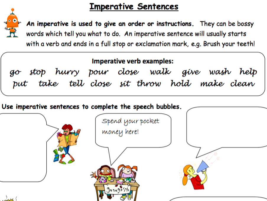 Imperative Verbs, Imperative Sentences