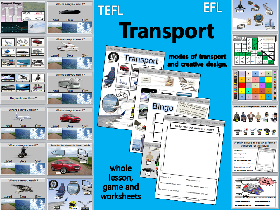 Transport: Whole lesson, activities and worksheets EFL TEFL KS2