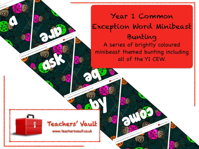Year 1 Common Exception Words Minibeast Bunting