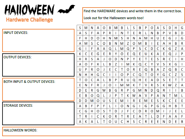 Computer Science Hardware - Halloween Wordsearch