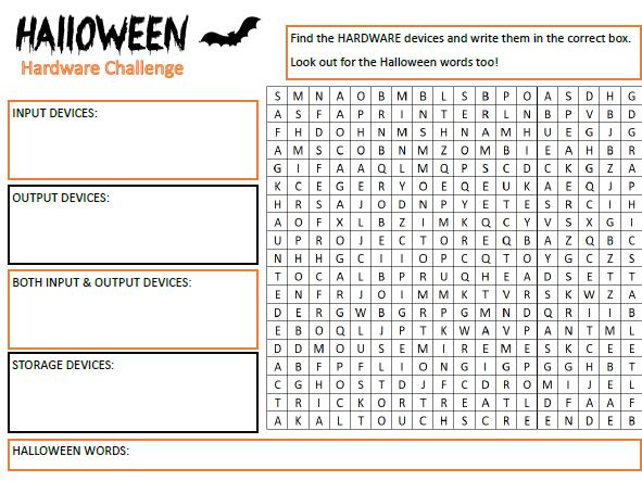 Computer Science Hardware - Halloween Wordsearch