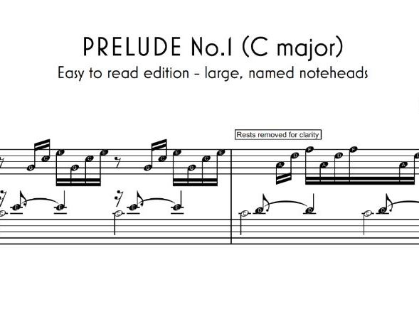 Bach Prelude No.1 - Easy-Read sheet music and piano tutorial