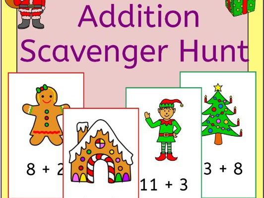 Christmas Addition Scavenger Hunt - Add around the room