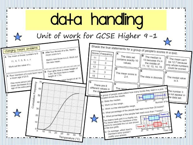 Data Handling Unit of Work for GCSE 9-1 (Higher)