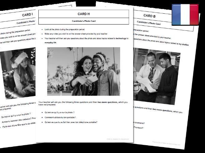 French AQA GCSE School College Photo Cards