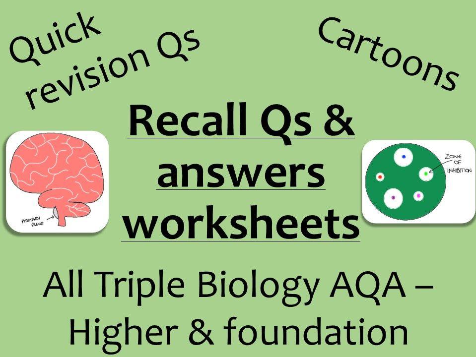 AQA Biology GCSE recall Qs - ALL Triple