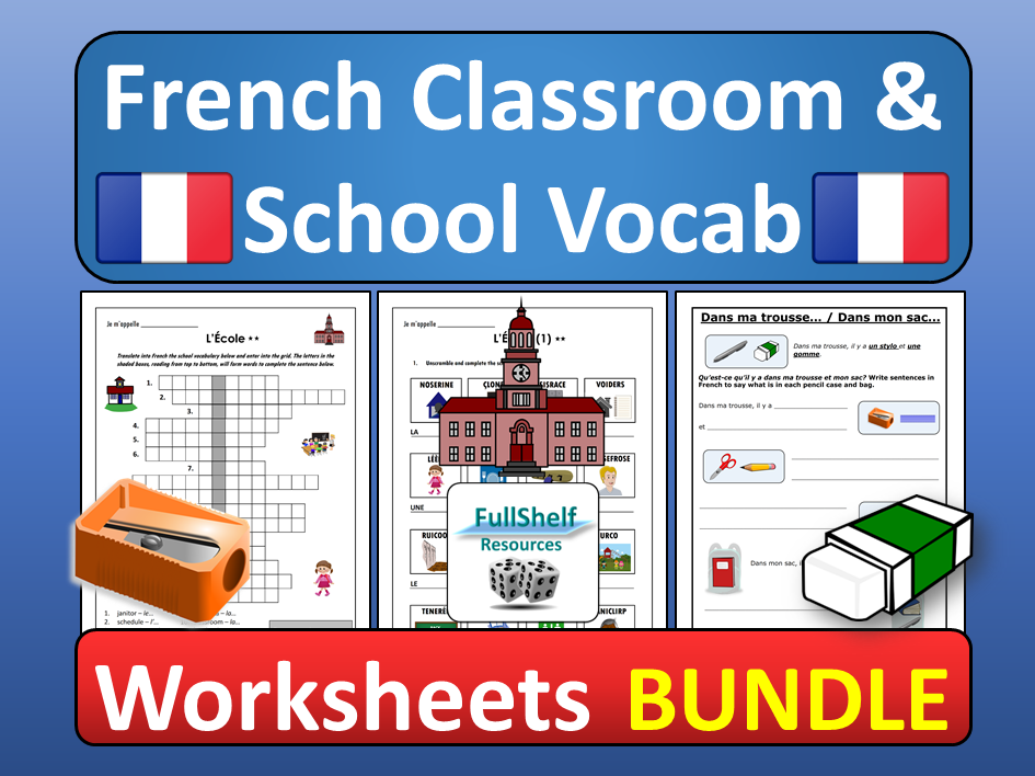 French Classroom Objects and School Worksheets BUNDLE