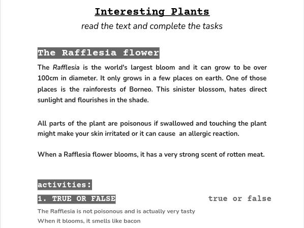 INTERESTING PLANTS comprehension worksheet