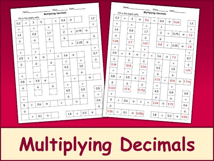 Multiplying Decimals Crossword Puzzle
