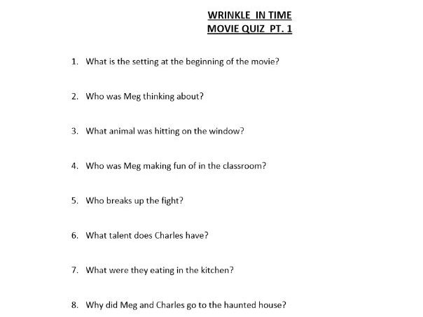 Wrinkle in Time Movie Quizzes
