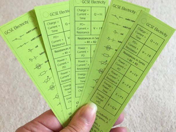 Electricity Equation Bookmark (2018 spec)