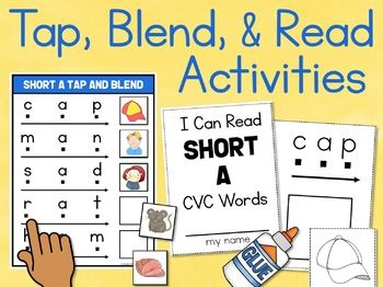 Short Vowel CVC Words Blend & Read Centers and Mini Books