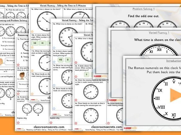 Year 3 Telling the Time to 5 Minutes Summer Block 2 Lesson Pack