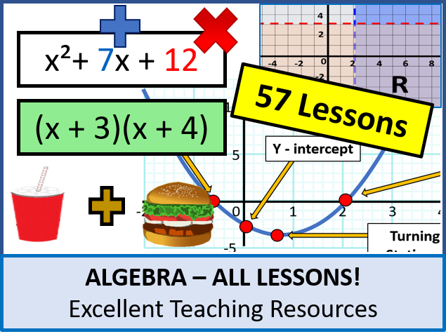 Algebra: ALL Lessons (57 Lessons) + Lots of Resources