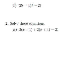 Equations with brackets worksheet (with solutions)
