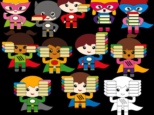Counting superhero books clip art - clipart to teach math
