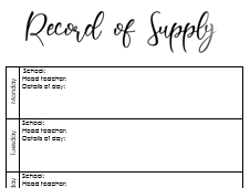 Record of Supply