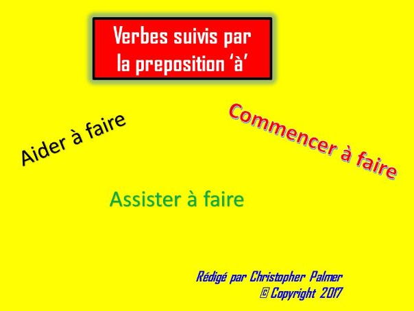 French: General lesson on verbs which are followed by the preposition 'à'