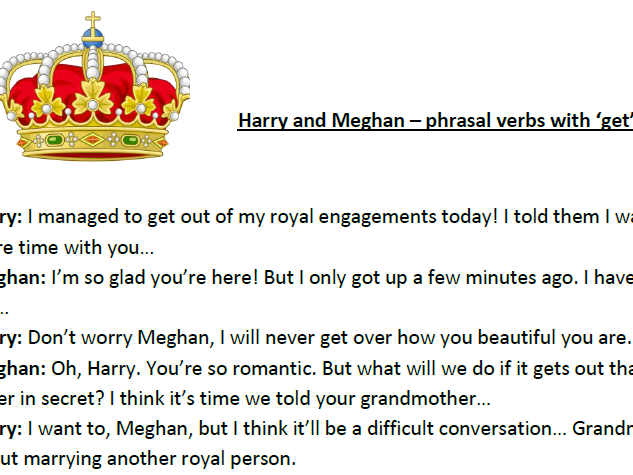 'Getting together' - teaching phrasal verbs with the Royal Wedding