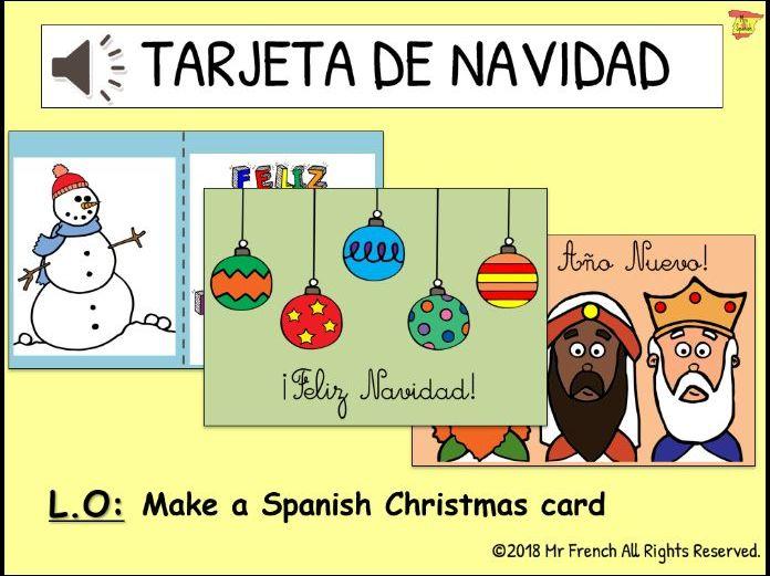 Tarjeta de Navidad (Spanish Christmas cards)- 1 lesson! Y3 ->Y6 (2nd -> 5th Grade)