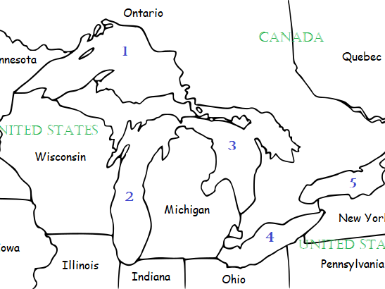 THE GREAT LAKES OF NORTH AMERICA Printable Worksheets