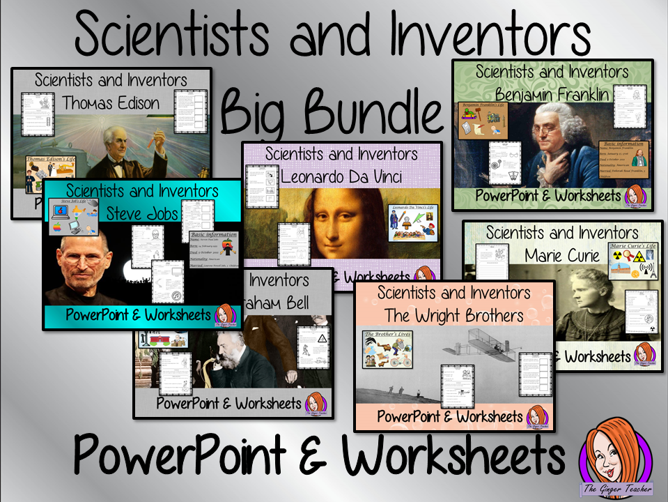 Scientists and Inventors   -  PowerPoint and Worksheets Big Bundle