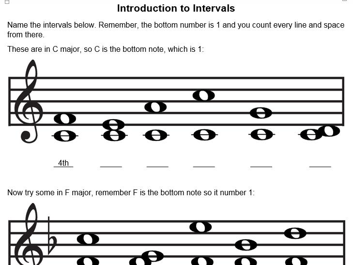 Musical Intervals 1 - Number only Intervals - worksheet