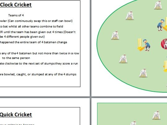 Cricket Games- Independent Student Cards
