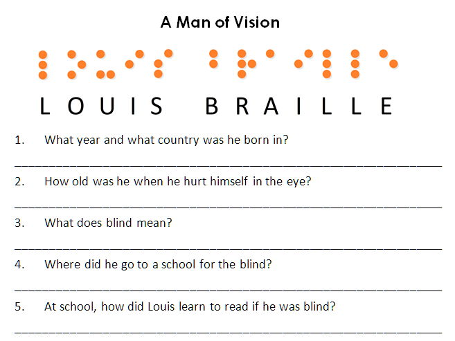 Louis Braille Comprehension Worksheet