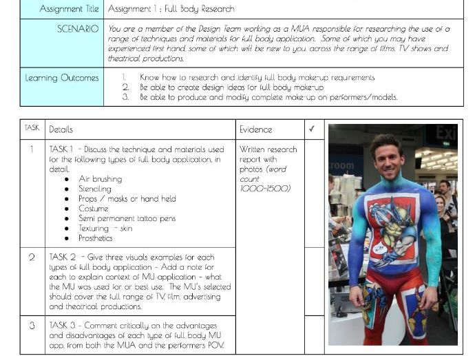 BTEC L3 Production Arts Unit 94 Full Body Make-up Assignment briefs and cover sheets