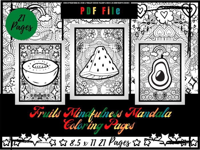 Fruits Mindfulness Mandala Colouring Pages, Kids Relaxing Printable Sheets PDF