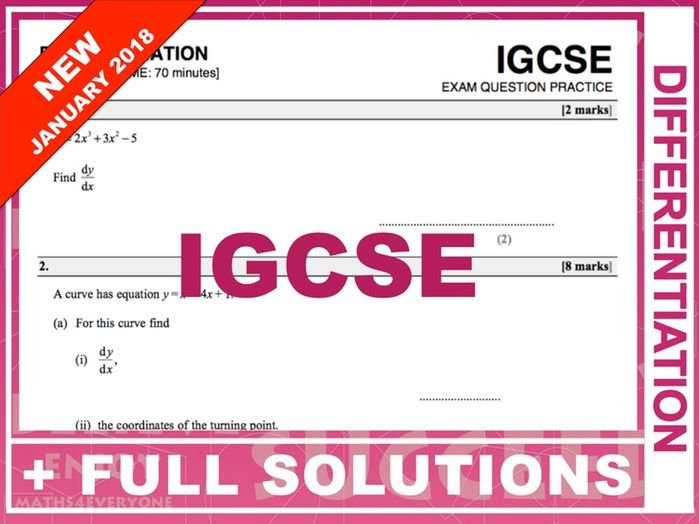 IGCSE Exam Question Practice (Differentiation)