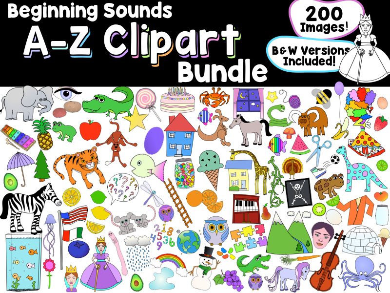 Beginning Sounds A-Z Clip Art Bundle, 150+ Color & Black and White Images