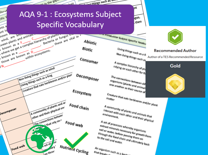 AQA 9-1 GCSE Geography - Introduction to Ecosystems, Key Vocabulary Literacy Activity Sheets