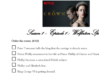The Crown - Ep1 S1 from Netflix (Comprehension Worksheet)