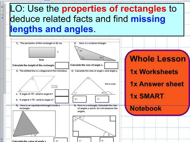 Properties of rectangles  and triangles - Missing angles - Facts ks2 year 5 & 6 SATS - WHOLE LESSON