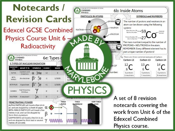 Edexcel GCSE 9-1 Combined Physics P6 Notecards (Revision Cards) - Radiation
