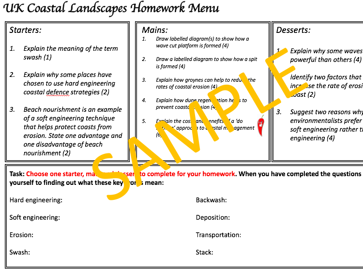 UK Coastal Landscapes Homework Menu - AQA 9-1 Geo