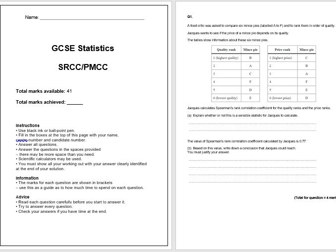 SRCC/PMCC Exam Questions (GCSE Statistics)