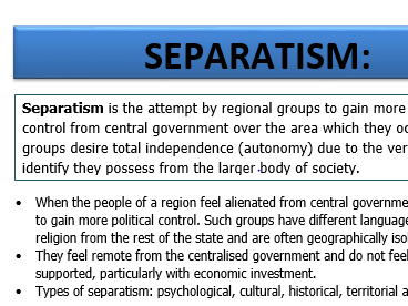 A LEVEL GEOGRAPHY SEPARATISM CAUSES AND CASE STUDY