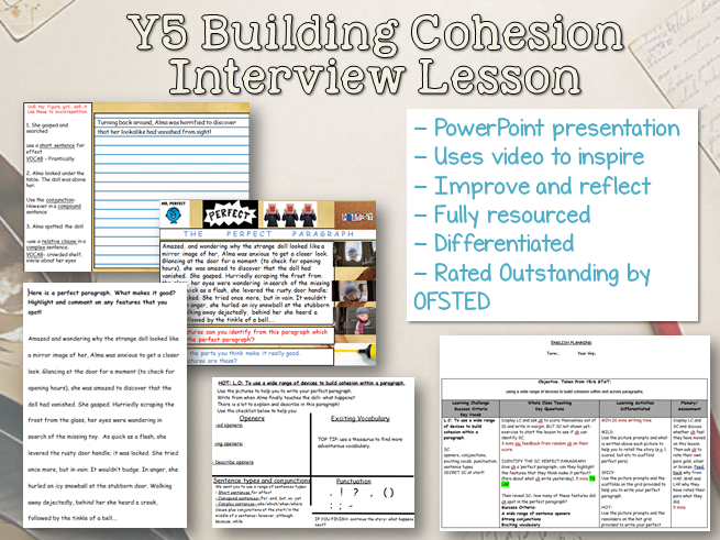 Outstanding Y5/6 English Interview Lesson - Building Cohesion