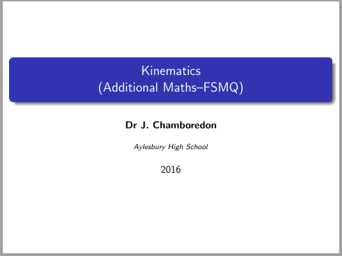 Kinematics (FSMQ / Additional maths)