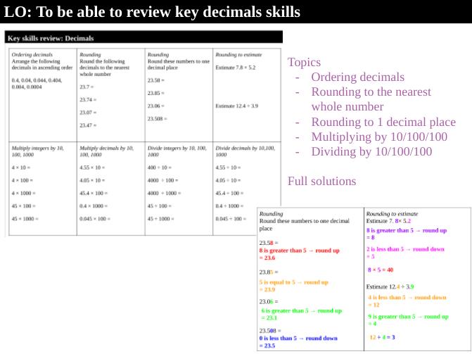 Decimals key skills review
