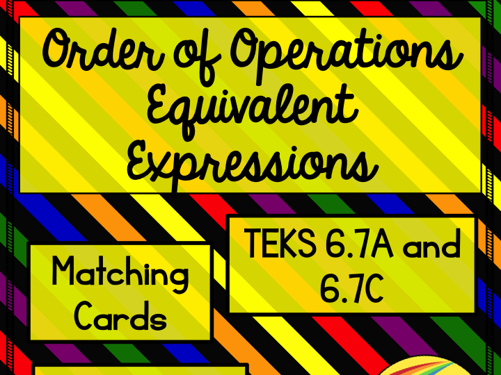 Order of Operations Equivalent Expressions Matching Cards