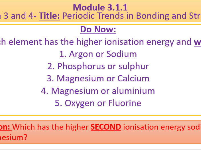 A Level Chemistry OCR A Module 3.1.1
