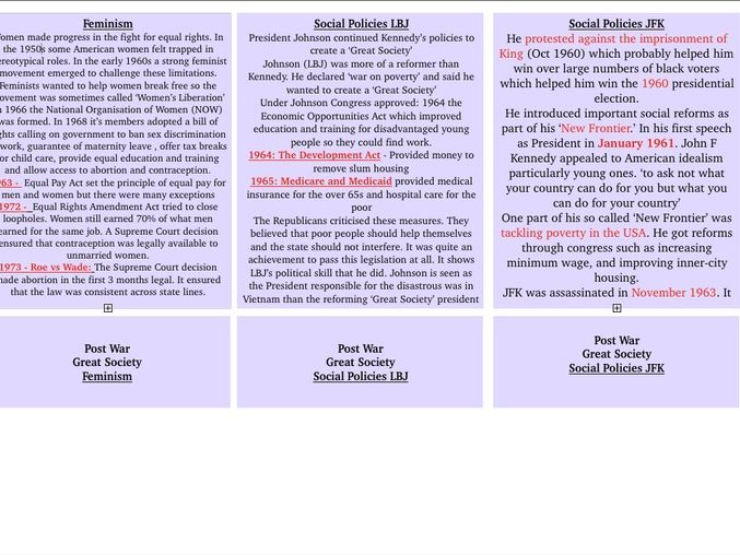 America - History GCSE Complete Flashcards